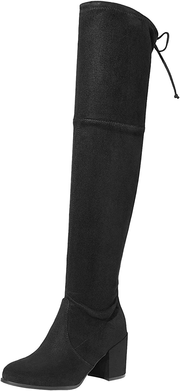 TOETOS Women's Prade-High Black Over The Knee Chunky Heel Boots Size 8.5 M US