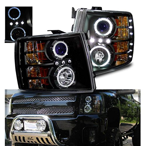 SPPC Black Projector Headlights Assembly with Halo Rings for Chevy Silverado - (Pair) Includes...