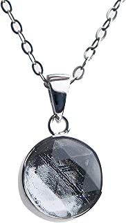 Genuine Natural Gibeon Meteorite Silver Plated Star of David Necklace Pendant AAAA 10x8mm