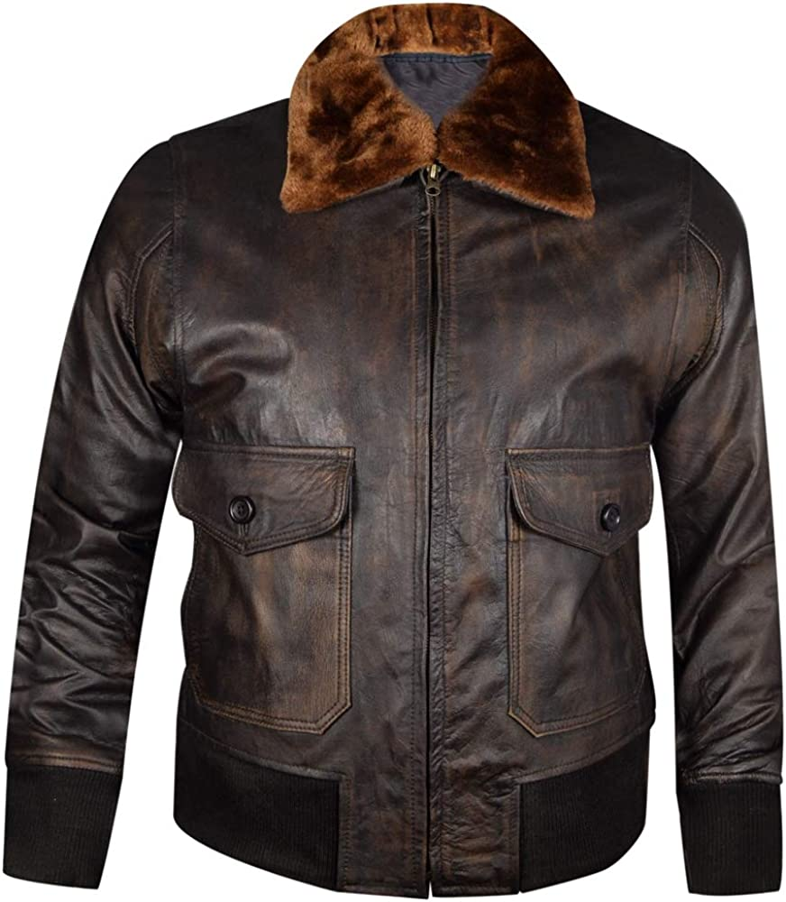 WWII Navy G-1 Flight trust Bomber Leather Bombing free shipping Brown Distress Jacke Genuine