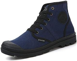 2019 Autumn New Casual High-top Belt Canvas Shoes Men's Shoes Classic Shoes Canvas Shoes Student Hiking Shoes (Color : Blue, Size : 41)