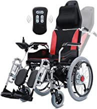 LJMGD Heavy Duty Electric Wheelchair with Headrest,Foldable Folding and Lightweight Portable Powerchair with Remote Control,Electric Power Or Manual Manipulation,Adjustable Backrest and Pedal