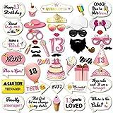 Howaf 48Pcs 13º cumpleaños DIY Photo Booth Atrezzo Favorecer photocall cumpleaños Accesorios Bigotes Gafas máscara para 13 Años Decoración de Cumpleaños para Niñas Regalo