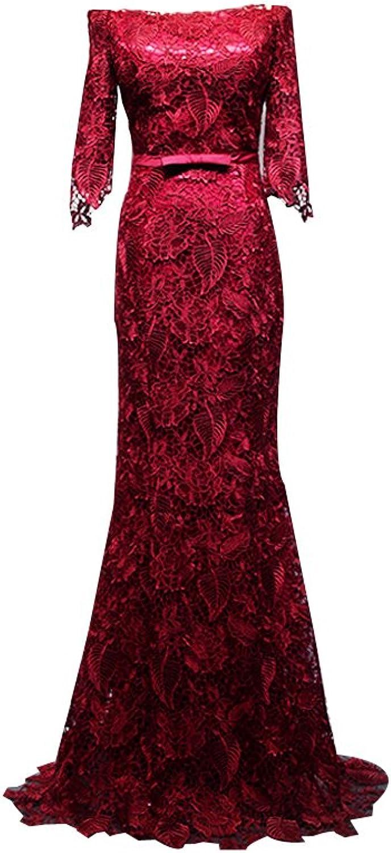 LISA.MOON Women's Off Shoulder Half Sleeves Lace Applique Bowtie Evening Dress