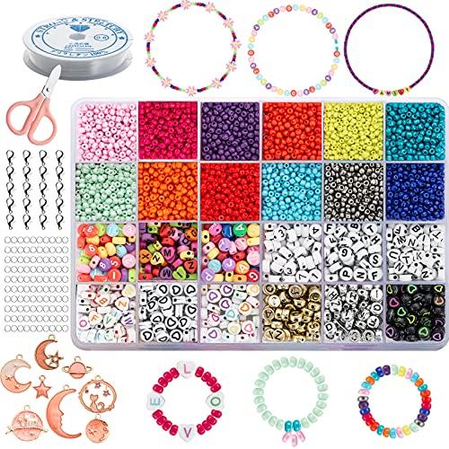 Set di Perline Fai da te per Ragazza Adulti Perline Colorate Mini Perle di Braccialetti, Collane, Bigiotteria DIY Idee Regalo Natale, Regalo Compleannoe adolescenti