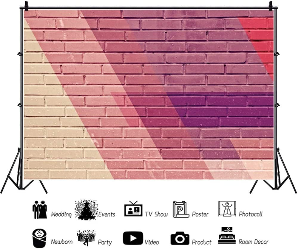 Leowefowa Yellow Gradient Red Brick Wall Backdrop Vinyl 12x8ft Textured Wall Photography Background Child Kids Adult Portrait Shoot Event Activities Photo Booth Studio Photo Props Wallpaper
