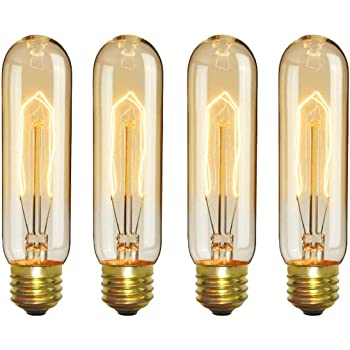 CTKcom Vintage Edison T10 40W Light Bulbs w/E26 E27 Base(4 Pack)-Tubular Nostalgic Filament Dimmable Incandescent Bulbs Antique Equivalent Lamps,Pendant Light for Home Light Fixtures E26/E27 110V