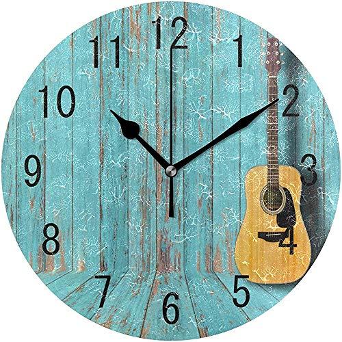 Cl353ll Vintage Holz-Wanduhr mit Gitarre im Vintage-Stil für Wohnzimmer, Küche, Schlafzimmer, Büro, Schule