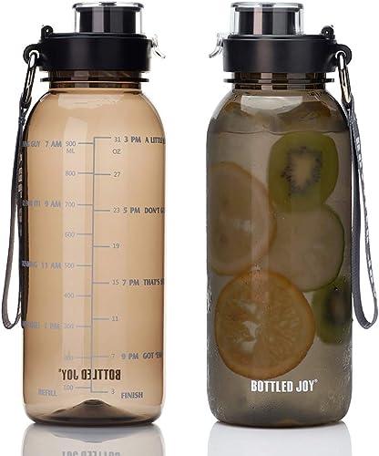 BOTTLED JOY 32oz Water Bottle, BPA Free Water Bottle with Motivational Time Marker Reminder Leak-Proof 1L Drinking Bo...