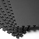 Deuba Bodenschutzmatten Trainingsmatten 6 Stück schwarz 2,27m² rutschfeste Schutzmatte Fitness...