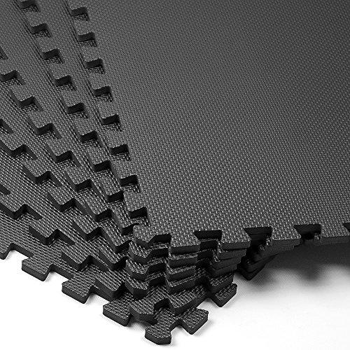 Deuba Bodenschutzmatten 6 Stück Unterlegmatte 63x63x1,2cm schwarz Trainingsmatte 2,38m² Puzzlematte Fitness Geräte Matte