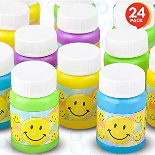ArtCreativity Smile Face Bubble Bottles for Kids - Set of 24 - Mini Bubble Blower Bottles with Solution - Birthday Party F...