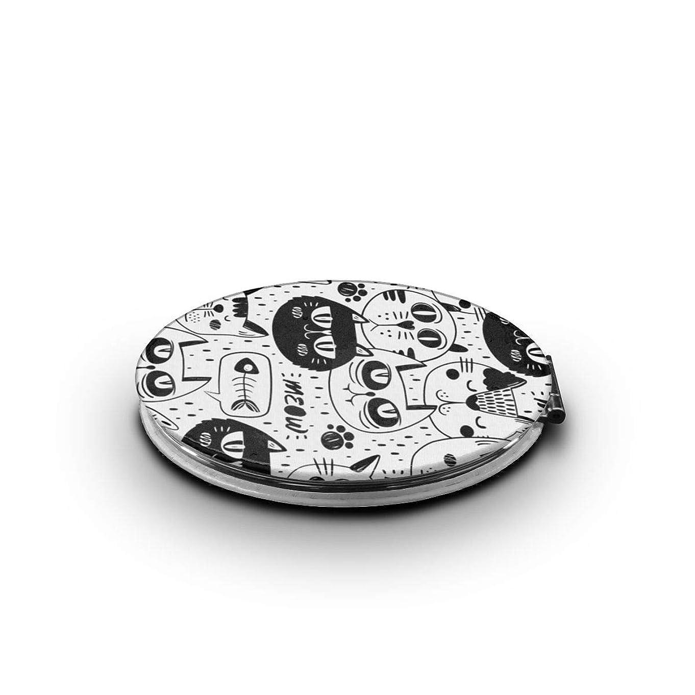 魔術師米国質量携帯ミラー 黒猫ミニ化粧鏡 化粧鏡 3倍拡大鏡+等倍鏡 両面化粧鏡 楕円形 携帯型 折り畳み式 コンパクト鏡 外出に 持ち運び便利 超軽量 おしゃれ 9.0X6.6CM