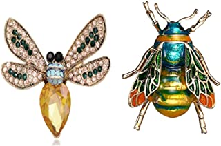 QKAIFRYSUG 2Pcs Brooch Pins Bird Bee Broaches Pineapple Dragonfly Crystal Cute Honeybee Animal Insect Bee Shape Corsages S...