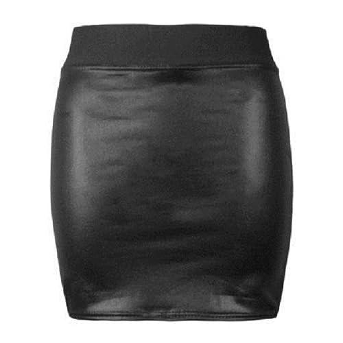 0f3c459754 Lush Clothing Women Ladies Wet Look Shinny Faux Leather Short PVC Mini &  Midi Skirt