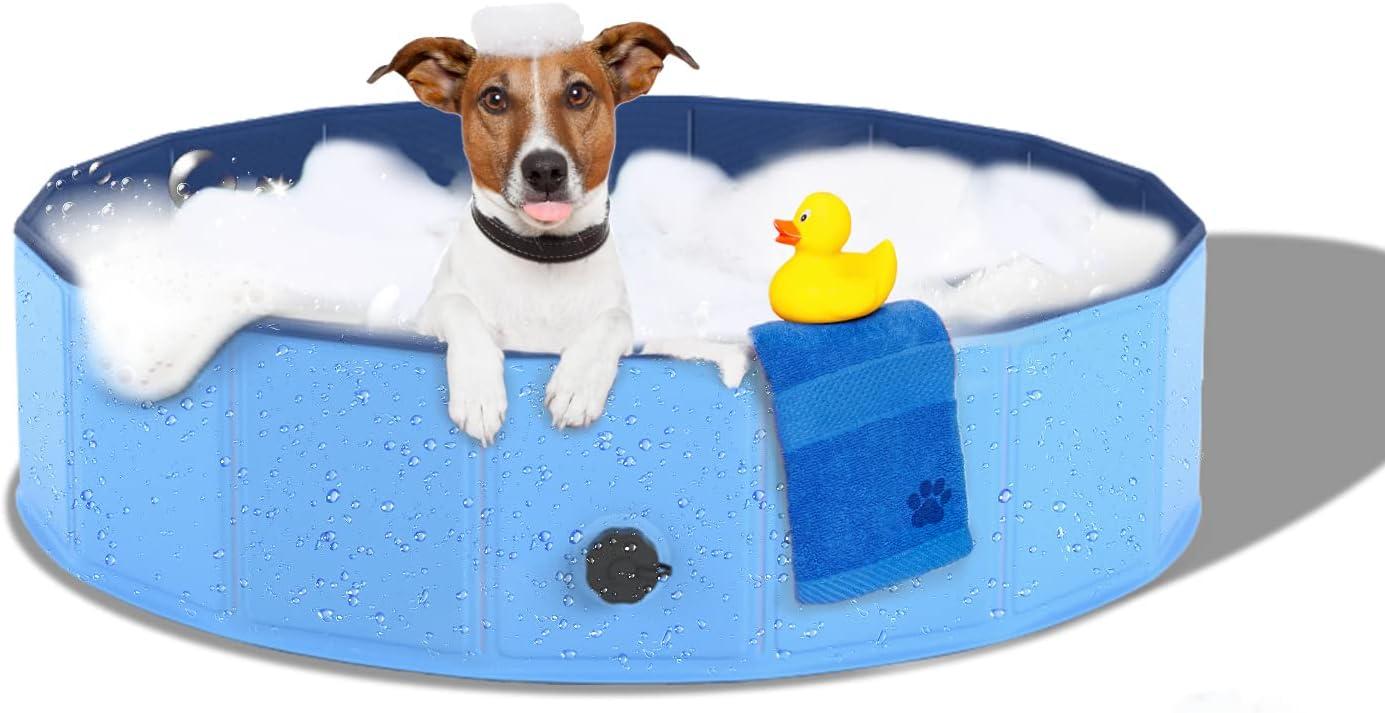 Joyshare Piscina para perros y gatos, piscina para perros y gatos, plegable, de PVC, antideslizante (80 cm de diámetro x 30 cm de altura)