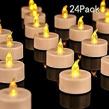 JUNPEI 24-Pack Flameless Tea Lights LED Tea Lights Holiday Gift Warm Yellow Lamp Battery Powered …