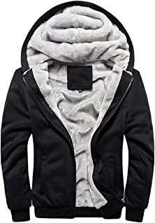 Cameinic Men's Thick Warm Padded Lined Fleece Hooded Sweatshirt Coat Jacket
