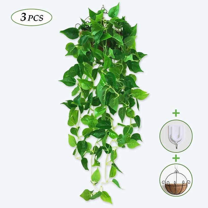 ダイバー異邦人半島人工の緑の植物、ぶら下がっている芸術の植物、人工のツタ、偽の花ガーランド植物花のツタ -H11.13 (Size : 3 article)