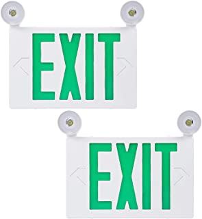 TORCHSTAR Green Letter LED Exit Sign, Double Face Emergency Light, AC 120V/277V, Battery Included, Top/Side/Back Mount Sign Light with 2 Adjustable Head, UL Listed for Commercial Grade, Pack of 2
