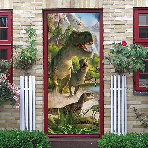 SPSPKZ 3D Arte De La Puerta Cartel De La Puerta Mural Calcomanía Dormitorio De Los Niños Autoadhesivo Impermeable Etiqueta Extraíble Vinilo Dinosaurio Animal Decoración Pegatinas Pared 77X200Cm