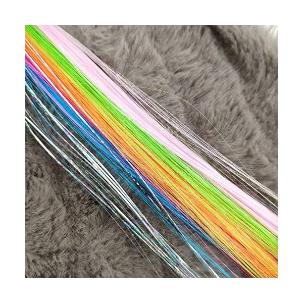 Sunormi 4 Pcs Multi-Colors Princess Kids Hair Clips In 15 Inch Straight Synthetic Hair Extensions Unicorn Butterfly Ponytails Hair Hairpieces For Girls Daily Dress Up 8