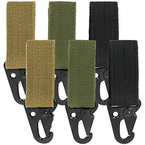 com-four® 6X Karabiner aus Metall mit Klettverschluss, Schlüsselanhänger, Gürtelschnalle EDC in Armee-Farben - Tarnfleck Molle-System in olivgrün, Khaki und schwarz, 9,5 x 3 cm (06 Stück)