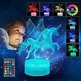 wgde toy Cadeau d'anniversaire de Noël pour Fille 3-12 Ans, Veilleuse 3D LED pour Enfants 2-6 Ans Cadeau de Licorne pour Jouet Fille 2-10 Ans