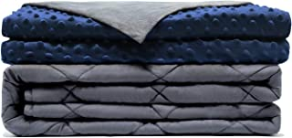Comfamille Weighted Blanket with Blue Removable Cover | Twin Full Queen King Sized Sleeping Blanket | 41