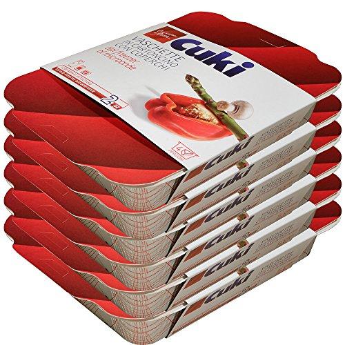 Cuki Vaschette in cartoncino con coperchi dal freezer al microonde - 4 porz - rettangolari [RC2] - 12 vaschette (Multipack)