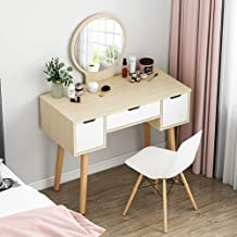 Bedroom Furniture Women Makeup Dressers Big Drawer White Wooden Color Dresser Table with Stool Mirror Chair Set,A