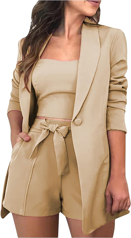 Women Sets Solid Three-Piece Women's Suit with Vest + Suit Jacket + Shorts Juniors