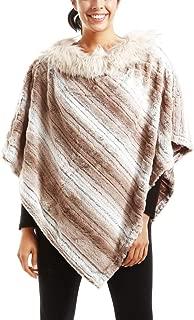Me Plus Women Fashion Winter Soft Faux Fur Pullover Poncho Wrap Shawl