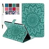 MiusiCase Coque pour Samsung Galaxy Tab A 9.7 SM-T550 Housse Etui,Flowers Relief Motif PU Cuir Flip...