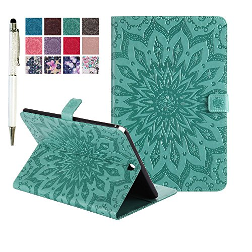 Samsung Galaxy Tab A 9.7 SM-T550 Case Cover, MiusiCase Flower Relief Pattern PU Leather Flip Protective Stand Case Cover for Samsung Galaxy Tab A 9.7 SM-T550 / SM-P550.(Sunflower green)