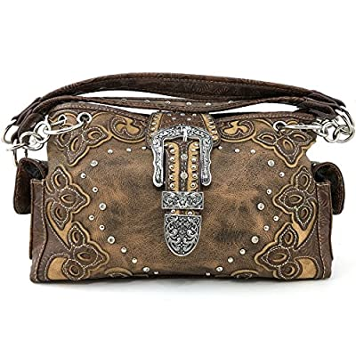Justin West Gleaming Silver Laser Cut Rhinestone Buckle Studded Concealed Carry Handbag Purse (Brown)