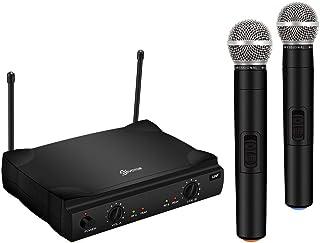 سیستم میکروفون بی سیم VHF ، میکروفون بی سیم دستی دو کاناله با گیرنده حرفه ای کارائوکه و 2 مجموعه میکروفون دستی دستی ، برای مهمانی ، KTV ، جلسه کاری ، عروسی ، کلیسا