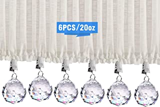6Pcs Shower Curtain Weights, 20 oz Heavy Premium Added Crystal Glass Prisms Pendant Curtain Weights with Thickening Stainless Steel Curtain Clips(6Pack)