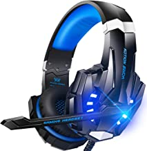BENGOO G9000 Stereo Gaming Headset for PS4 PC Xbox One PS5 Controller, Noise Cancelling Over Ear Headphones with Mic, LED ...
