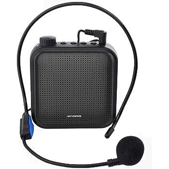 QINGTIAN Amplificador de Voz,Sistema de PA Recargable de 12 vatios (1200 mAh) con micrófono con Cable para Maestros,guía turístico y más (Negro/Rojo)