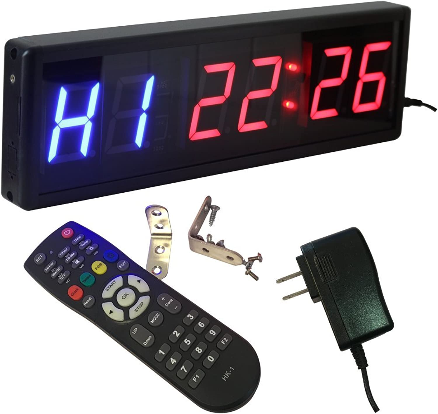 Ledgital Gym Timer for Home Gym 2.3  High Character 15 x5  Cross-Fit Interval Clock - Operated by Wireless Remote Control