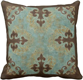 Emvency Throw Pillow Cover Cowgirl Turquoise Leather Western Cowboy Leatherwork Decorative Pillow Case Home Decor Square 18 x 18 Inch Pillowcase