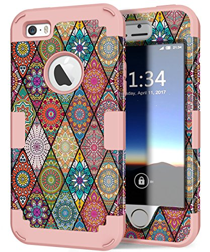 Hocase iPhone 5s Case, iPhone SE Case, Heavy Duty Shockproof Protection Hard Plastic+Silicone Rubber Bumper Dual Layer Full-Body Protective Phone Case for iPhone SE/5s/5 - Mandala/Rose Gold