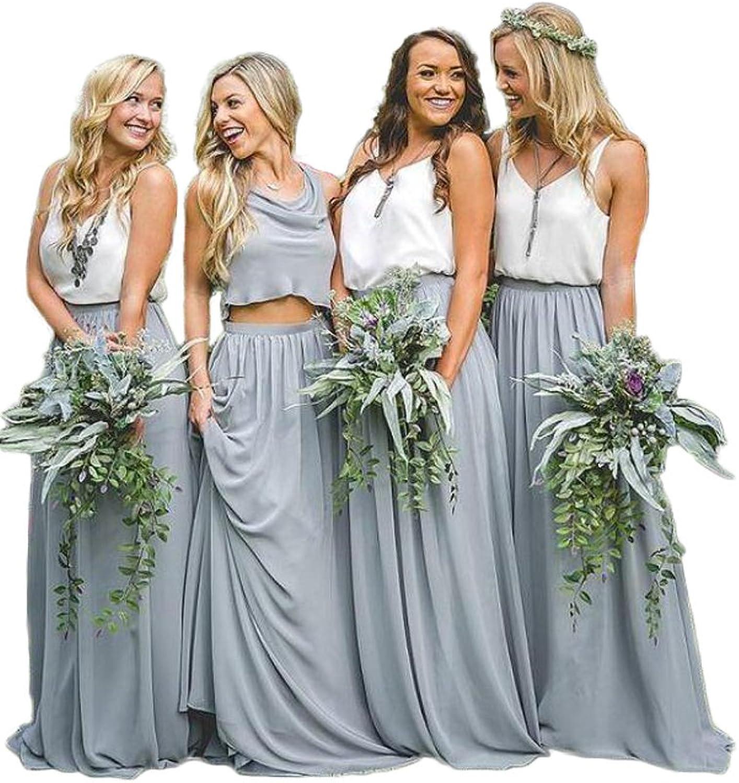 AK Beauty Two Pieces Bridesmaid Dress VNeck Evening Dress Prom Party Dress