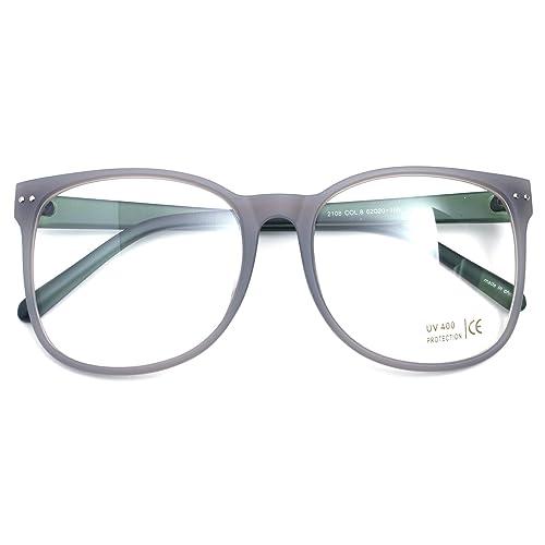 d5082db30 Oversized Big Round Horn Rimmed Eye Glasses Clear Lens Oval Frame Non  Prescription