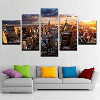 TYUIOP HD Prints Picture Modular Canvas Poster Wall Art 5 Pieces New York City Architecture Sunset Landscape Painting Home...