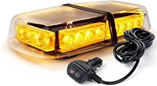 Xprite Amber 24 LED 12W Emergency Warning Flashing Rooftop Strobe Light with Magnetic Base for Snow Plow Cars Trucks