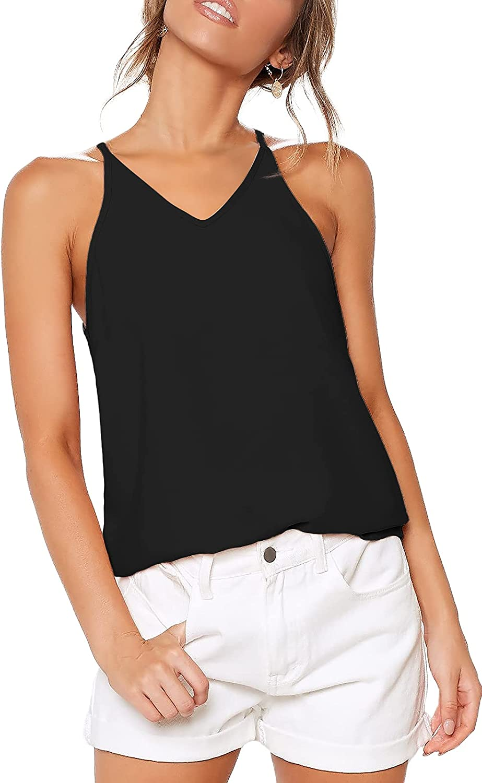 LouKeith Womens Tank Tops V Neck Summer Cute Sleeveless Tunic Tops Loose Cami T-Shirts