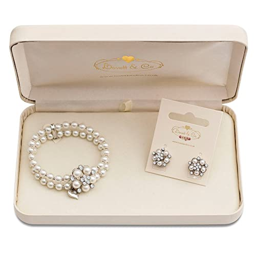 697bf396913 Lovett Co. Audrey Hepburn Pearl Stud Earring   Audrey Hepburn Pearl Stretch  Bracelet (Cream)