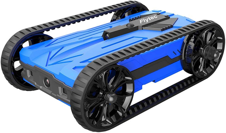 Flytec Sturzsichere Legierung Fernbedienungstank mit LED Nachtlicht RC Spielzeug für Kinder (bluee)